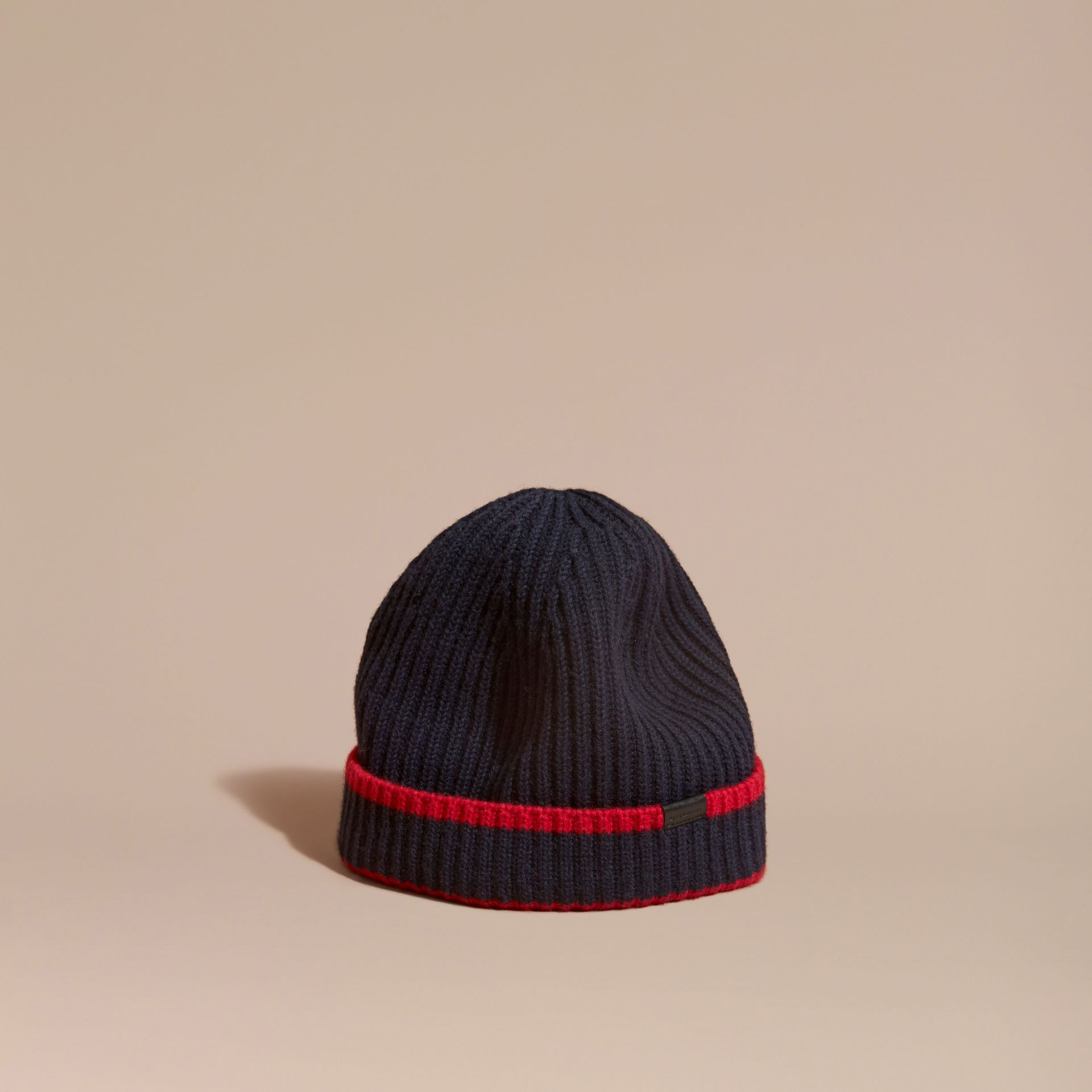 Navy/parade red Ribbed Cashmere Tipped Beanie - gallery image 1