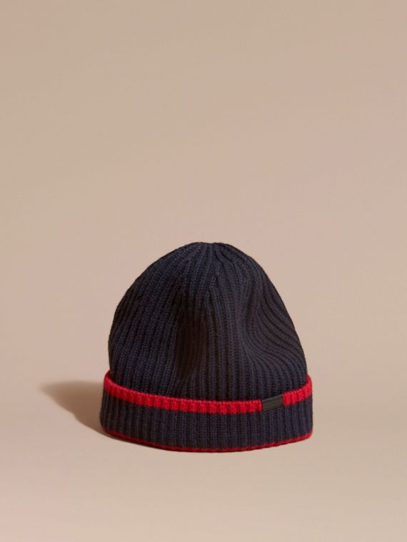 Ribbed Cashmere Tipped Beanie Navy/parade Red