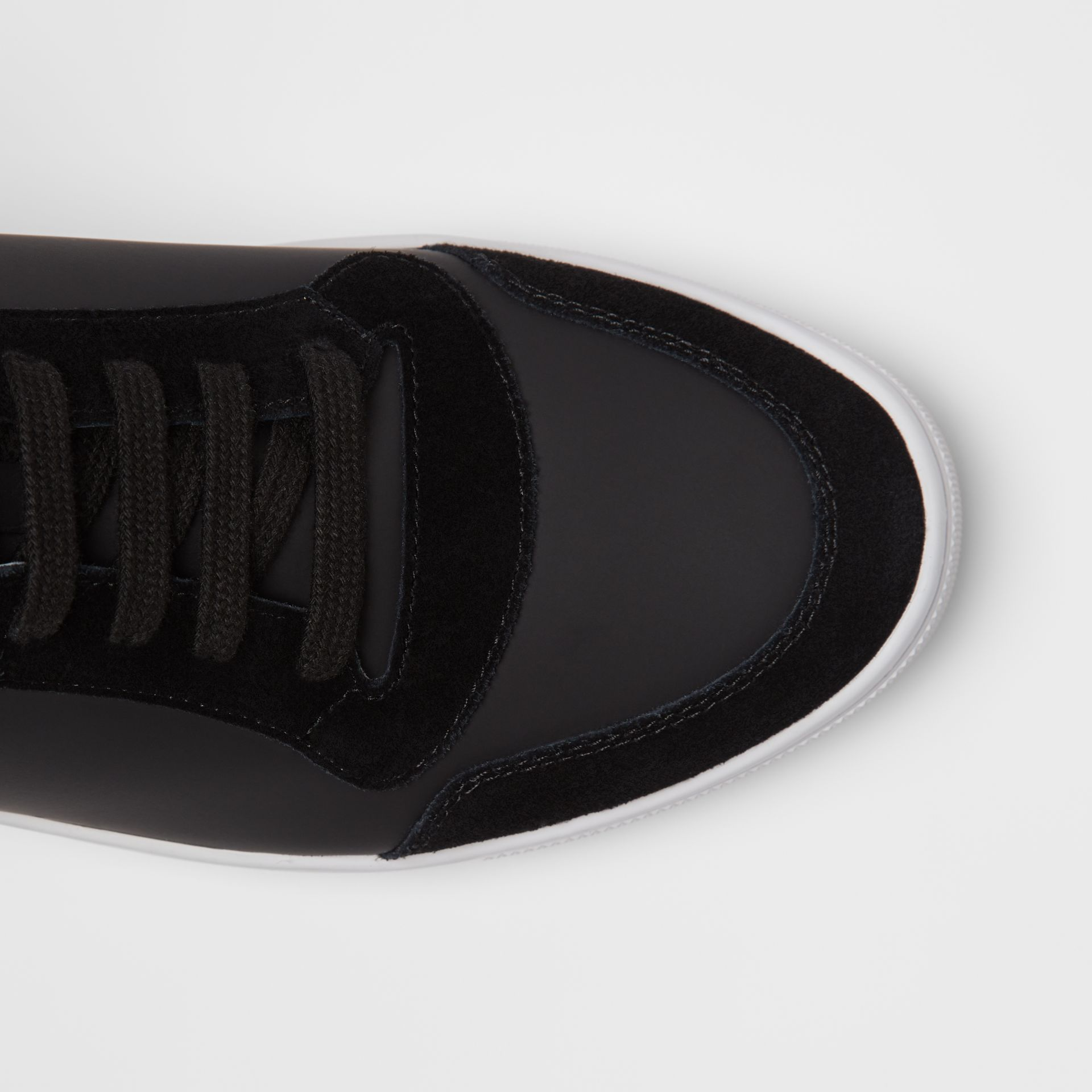 Leather and House Check High-top Sneakers in Black - Men | Burberry Australia - gallery image 1