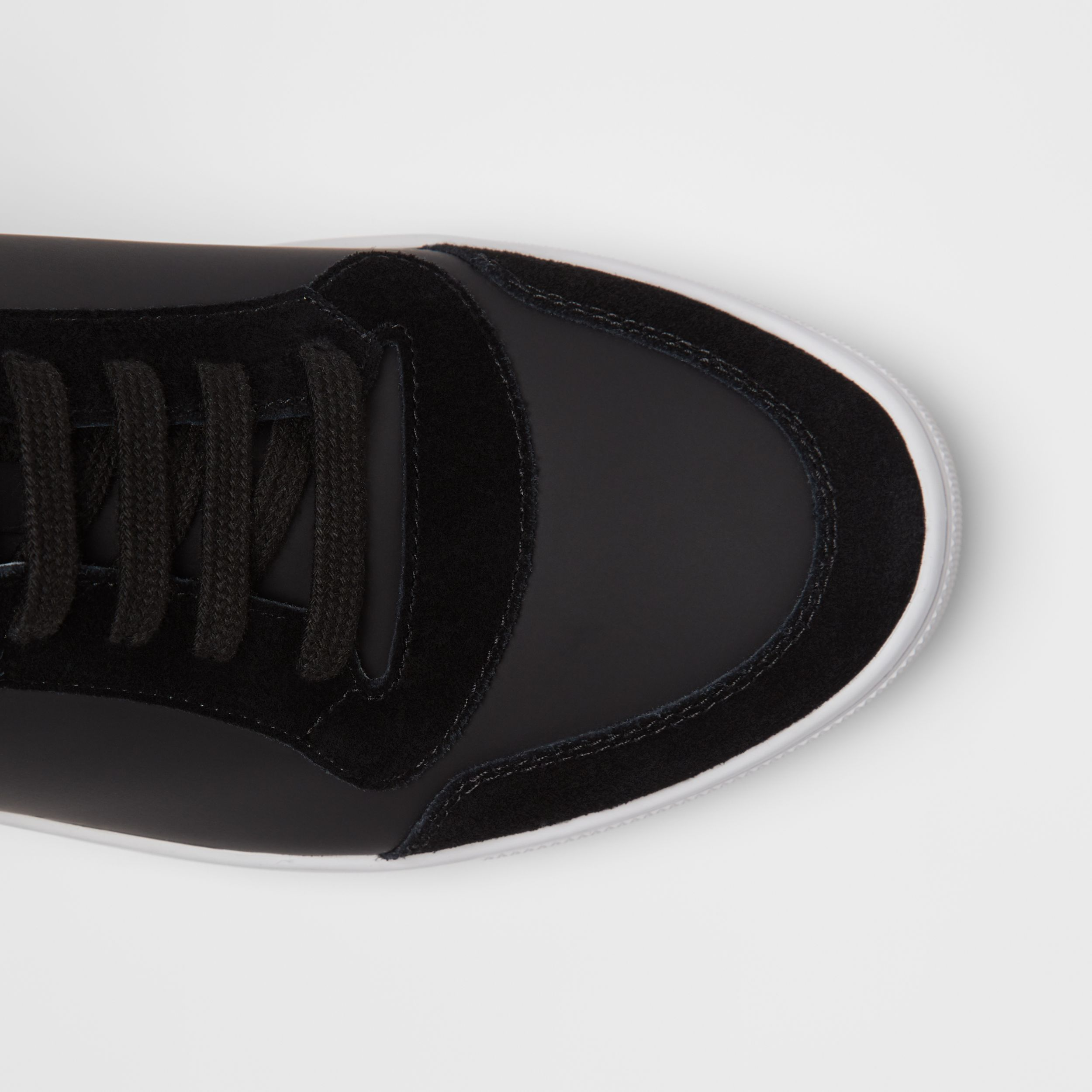 Leather and House Check High-top Sneakers in Black - Men | Burberry - 2