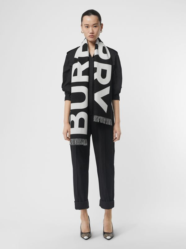 Logo Wool Scarf in Black/white | Burberry Australia - cell image 2