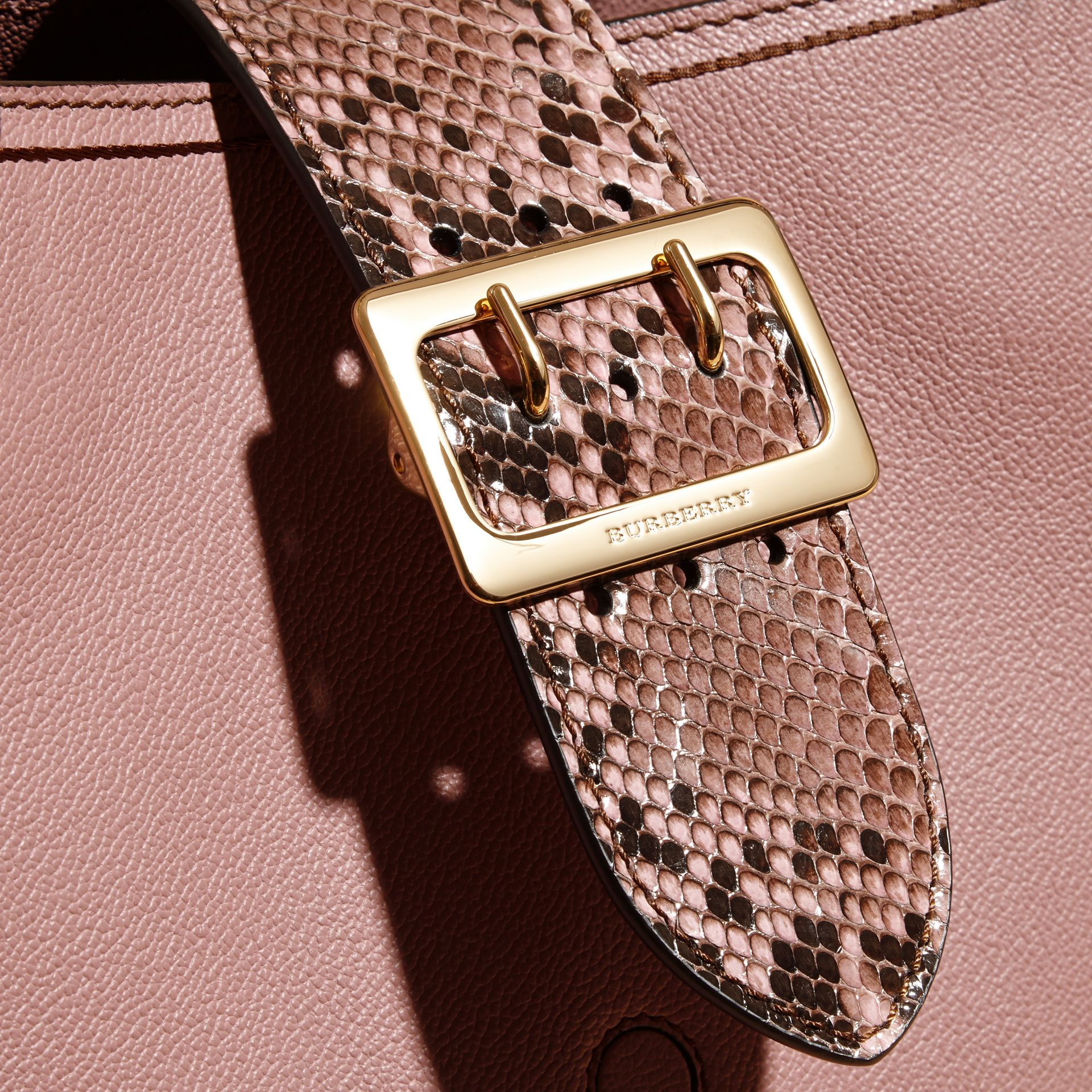 Dusty pink The Medium Buckle Tote in Grainy Leather and Python - gallery image 2