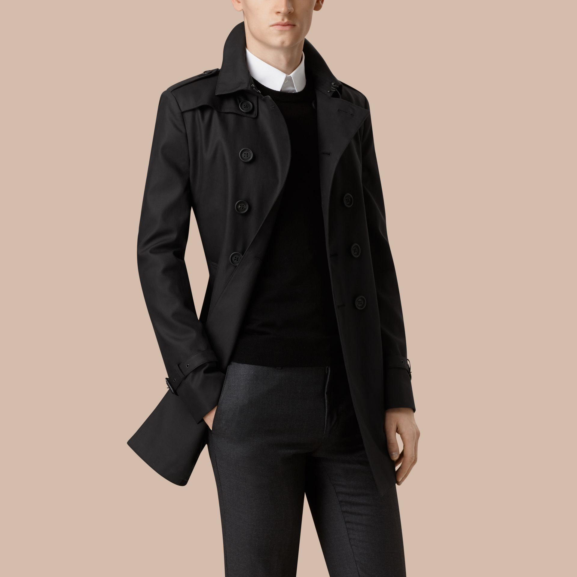 Black Cotton Gabardine Trench Coat Black - gallery image 1
