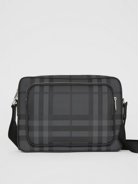London Check Messenger Bag in Charcoal/black