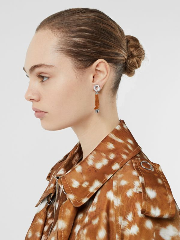 Calf Hair and Palladium-Plated Hoof Drop Earrings in Palladium/camel - Women | Burberry Singapore - cell image 2