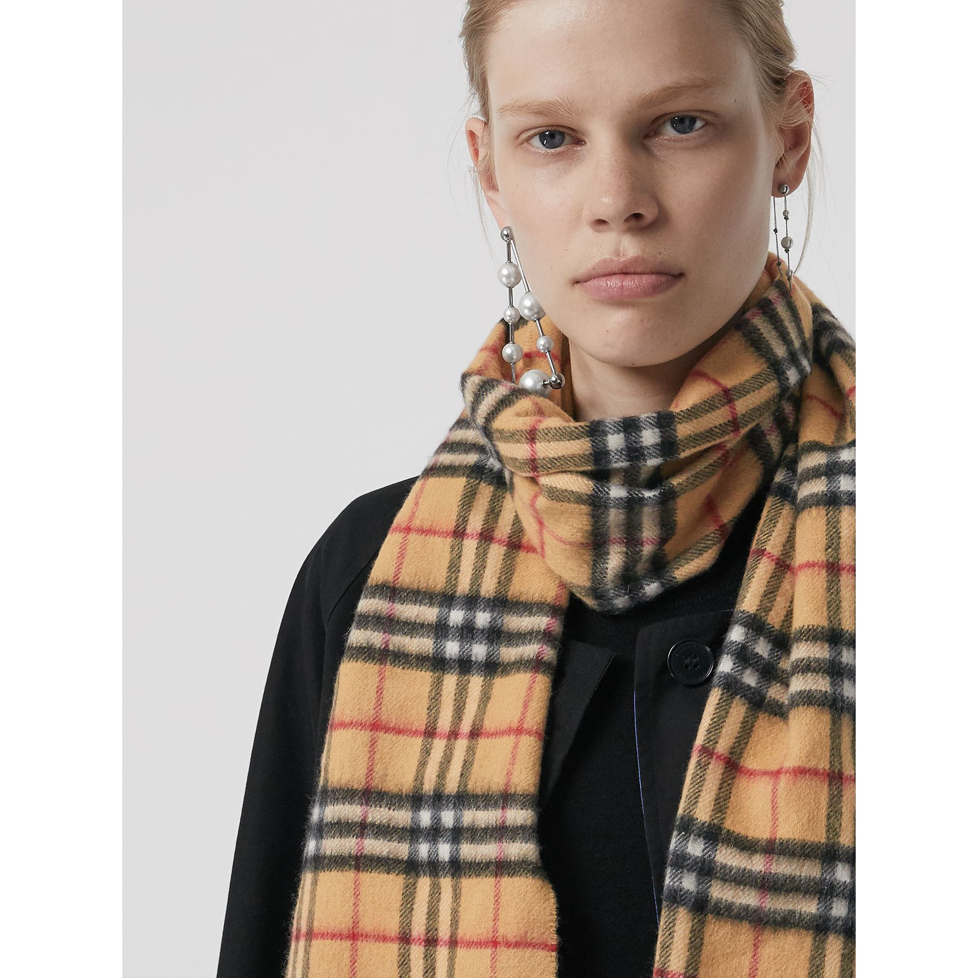 The Classic Vintage Check Cashmere Scarf in Antique Yellow | Burberry United Kingdom - gallery image 5
