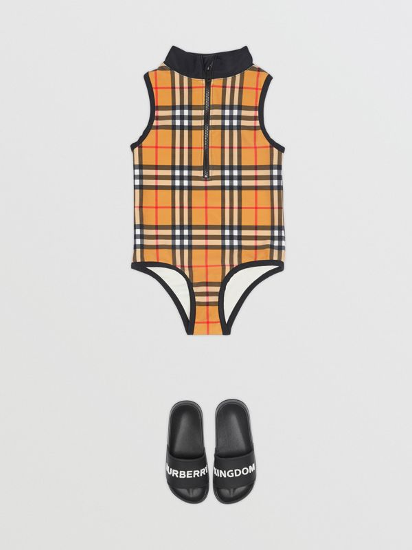 Logo Detail Vintage Check One-piece Swimsuit in Antique Yellow | Burberry - cell image 2