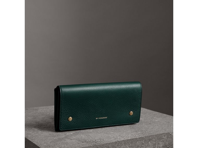 Two-tone Leather Continental Wallet in Dark Cyan - Women | Burberry - cell image 4