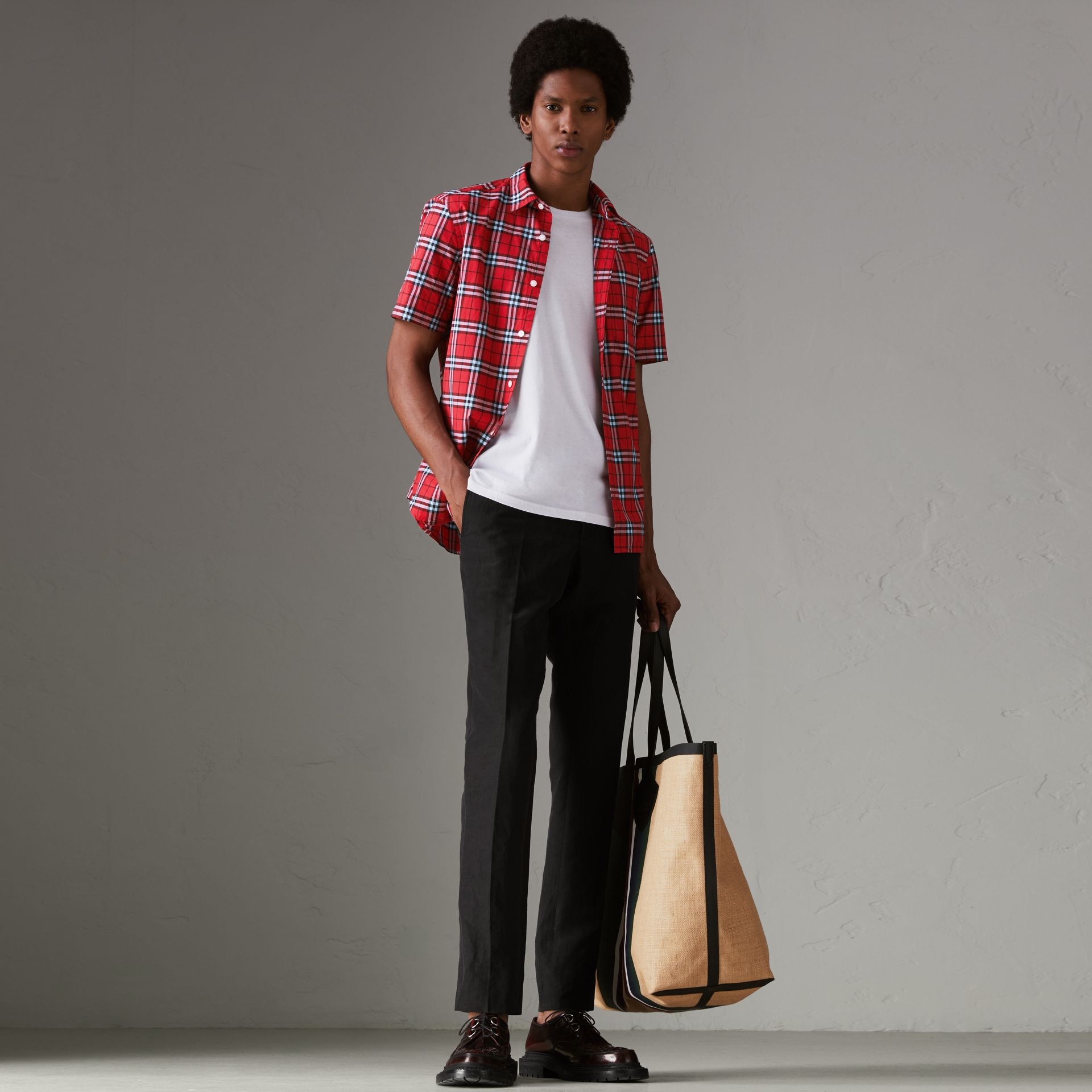Short-sleeve Check Cotton Shirt in Bright Red - Men | Burberry - gallery image 0