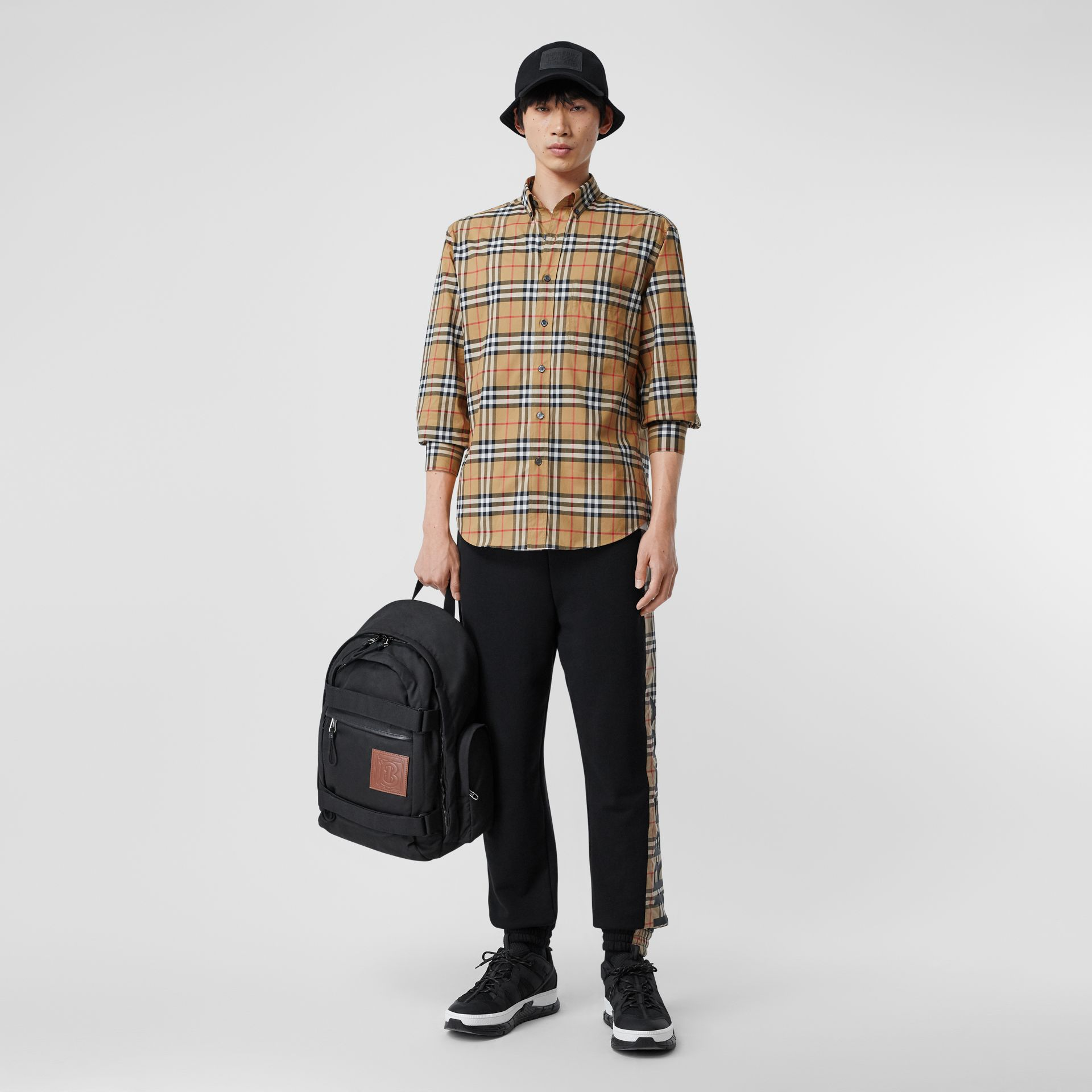 Button-down Collar Vintage Check Cotton Shirt in Antique Yellow - Men | Burberry United Kingdom - gallery image 0