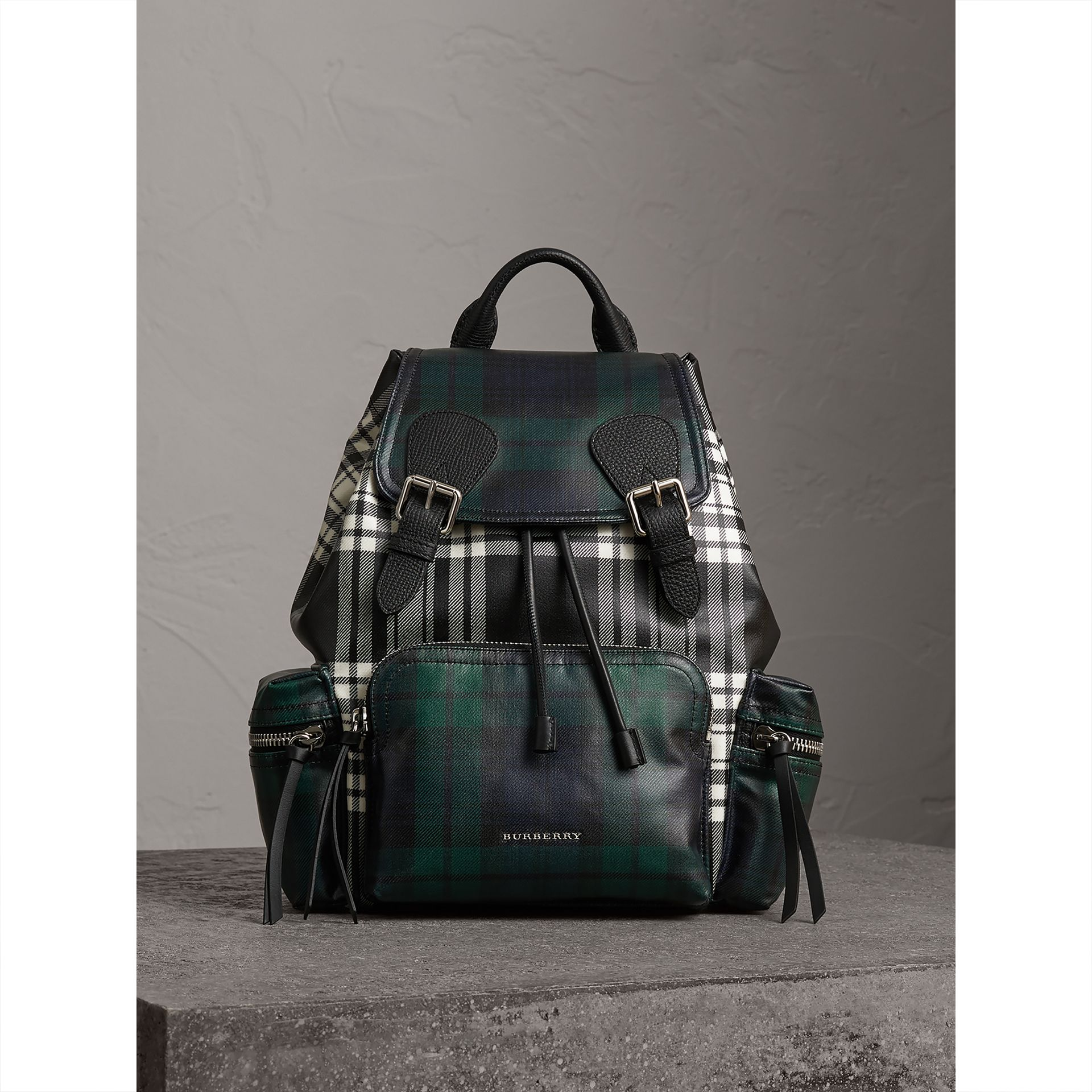 The Medium Rucksack in Laminated Tartan in Black/white - Women | Burberry - gallery image 6