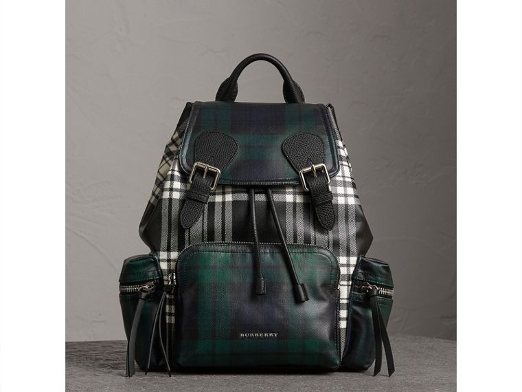 The Medium Rucksack in Laminated Tartan in Black/white - Women | Burberry - cell image 4