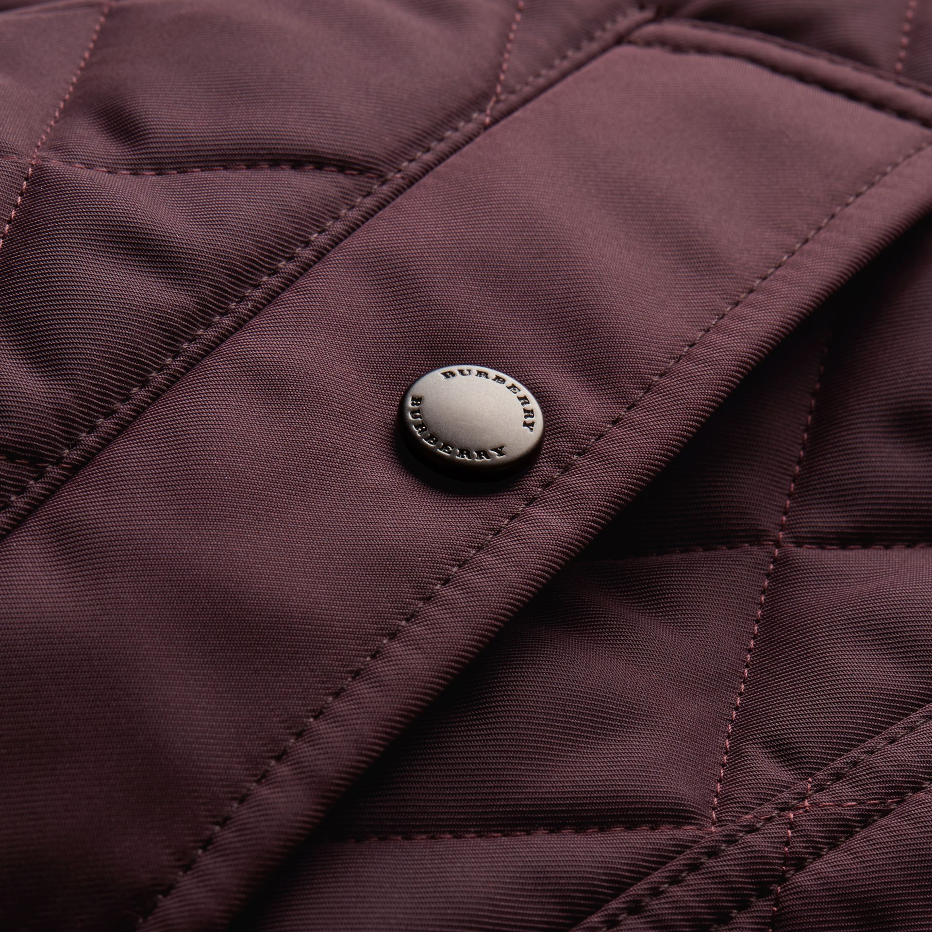 Leather Piping Corduroy Collar Quilted Jacket Claret - gallery image 2
