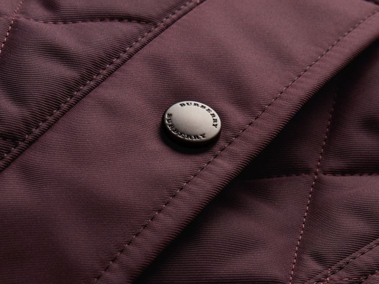 Leather Piping Corduroy Collar Quilted Jacket Claret - cell image 1