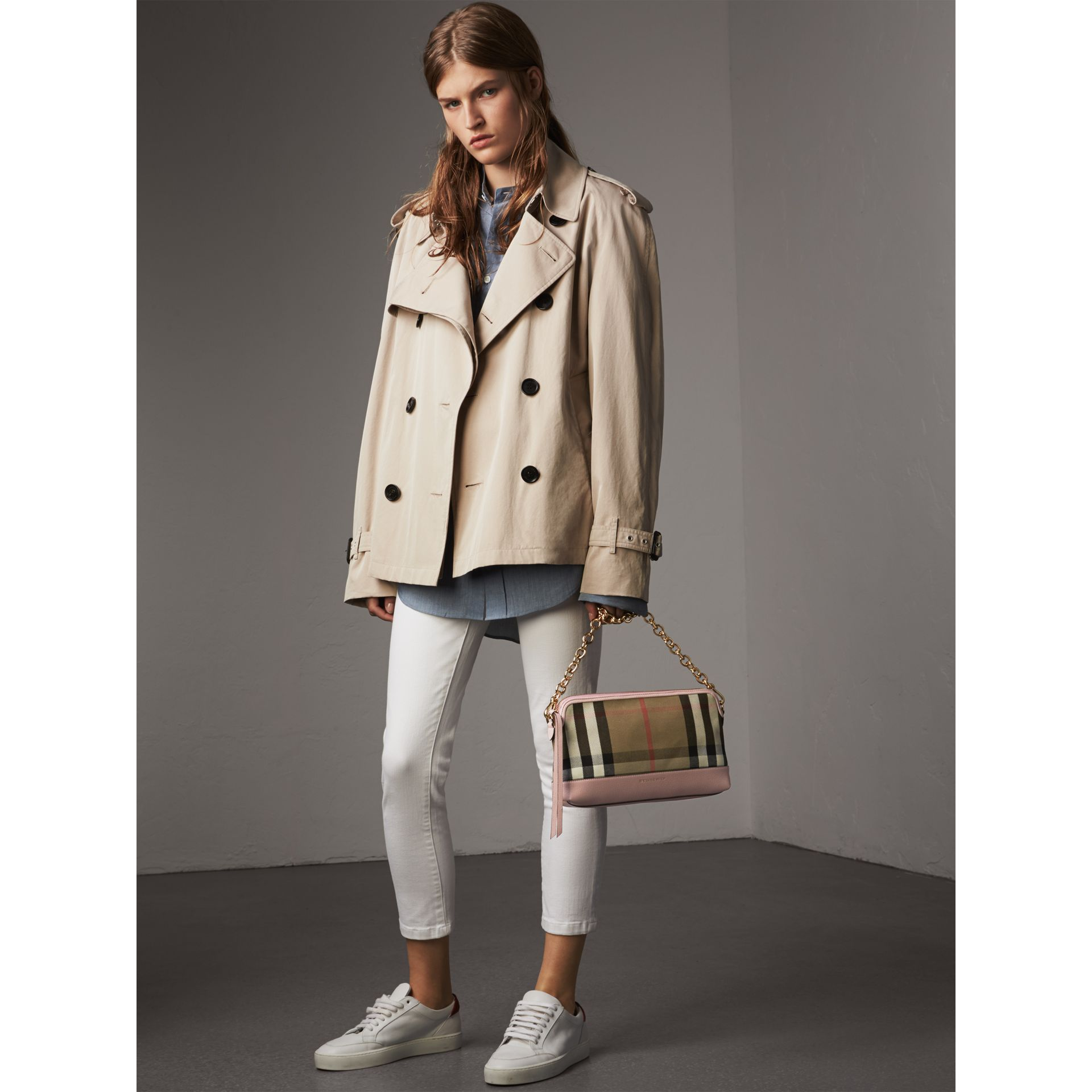 House Check and Leather Clutch Bag in Pale Orchid - Women | Burberry United Kingdom - gallery image 3