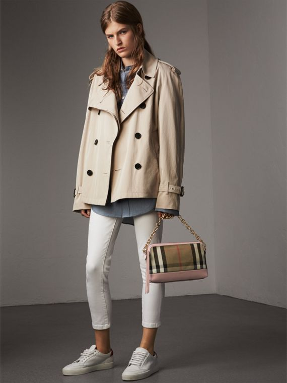 House Check and Leather Clutch Bag in Pale Orchid - Women | Burberry United Kingdom - cell image 2