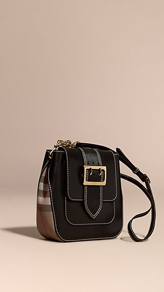 The Medium Buckle Bag – Square in Leather and House Check
