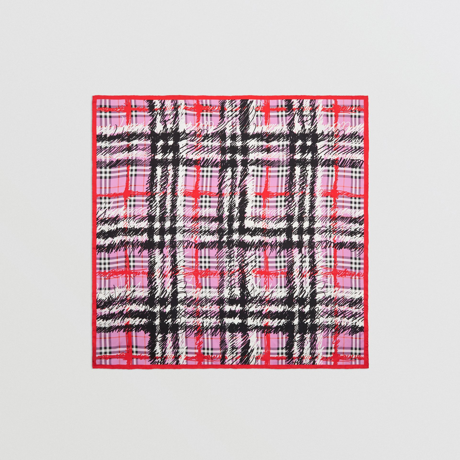 Scribble Check Silk Square Scarf in Fuchsia Pink | Burberry United Kingdom - gallery image 4