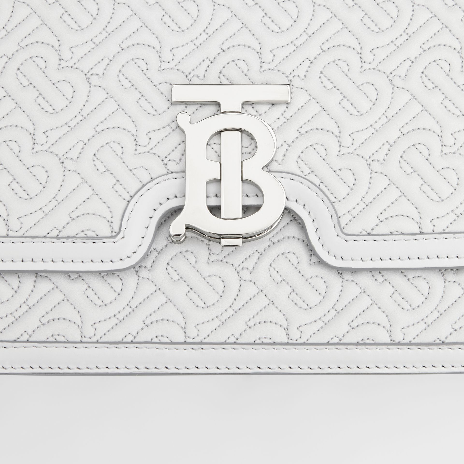 Medium Quilted Monogram Lambskin TB Bag in Light Pebble Grey - Women | Burberry - gallery image 9