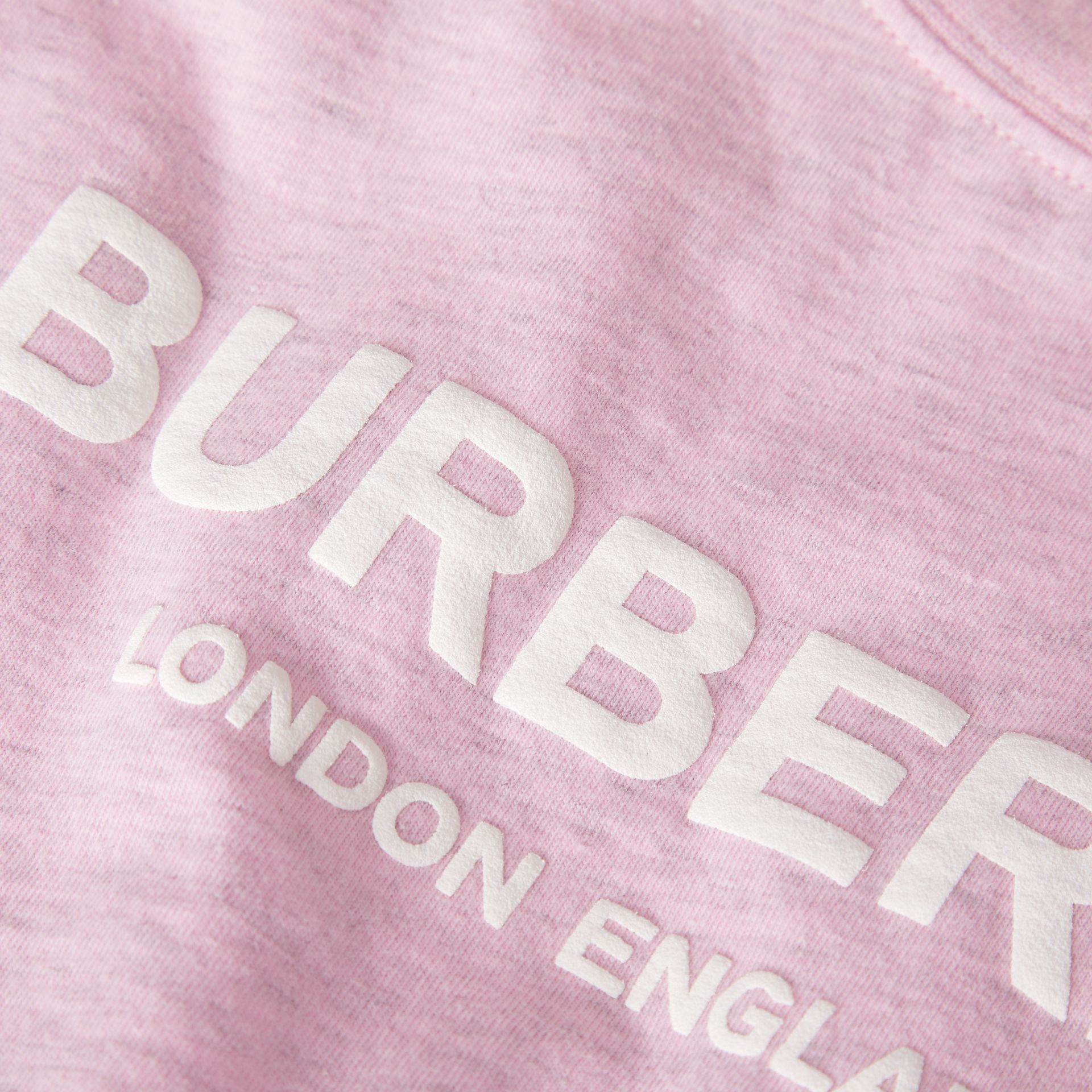 Logo Print Cotton T-shirt in Pale Neon Pink - Children | Burberry - gallery image 1