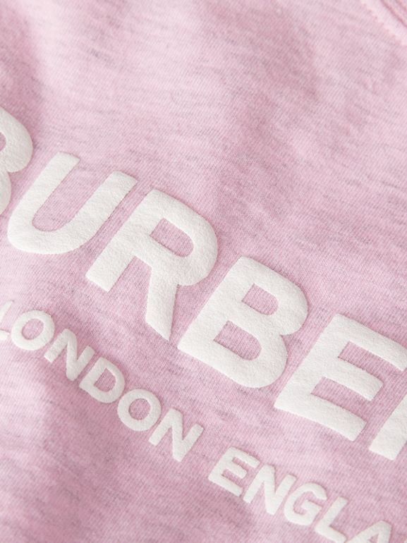 Logo Print Cotton T-shirt in Pale Neon Pink - Children | Burberry - cell image 1