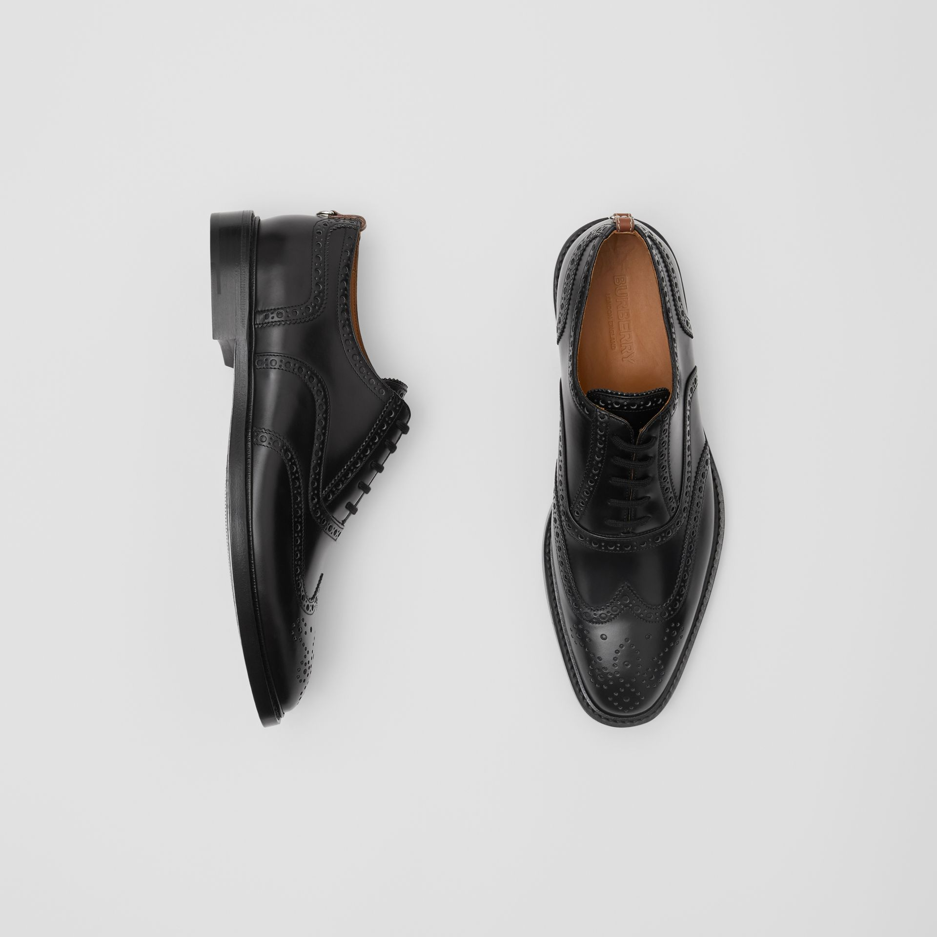 D-ring Detail Patent Leather Oxford Brogues in Black - Men | Burberry - gallery image 0