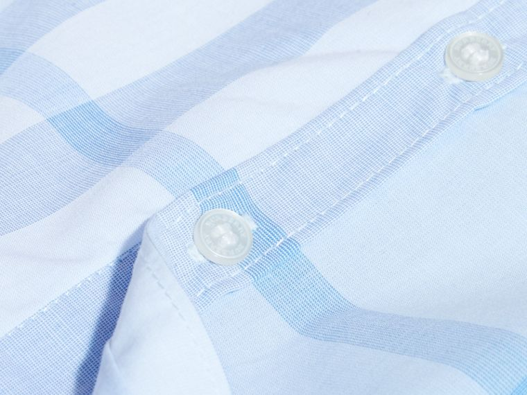 Ice blue Short-sleeve Check Cotton Shirt - cell image 1