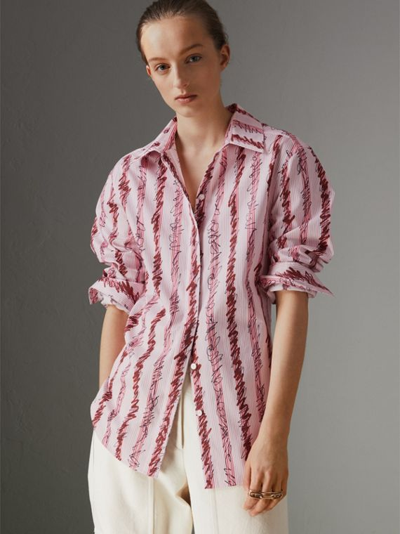 Scribble Stripe Cotton Shirt in Light Pink