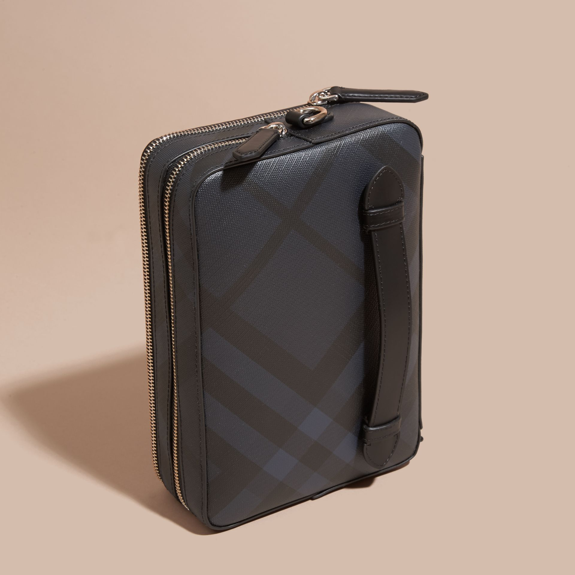 Leather-trimmed London Check Pouch in Navy/black - Men | Burberry Australia - gallery image 3