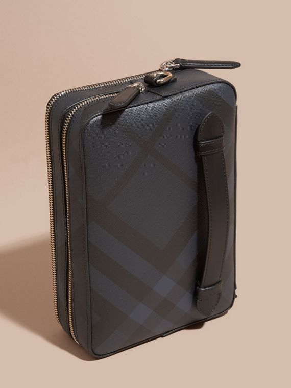 Leather-trimmed London Check Pouch in Navy/black - Men | Burberry - cell image 2