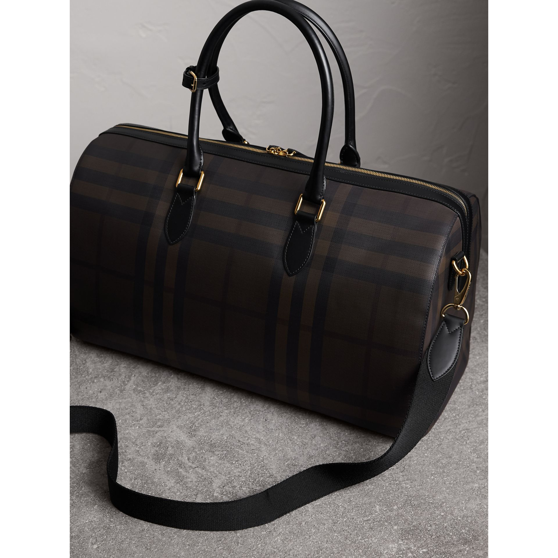 Leather Trim London Check Holdall in Chocolate/black - Men | Burberry - gallery image 4