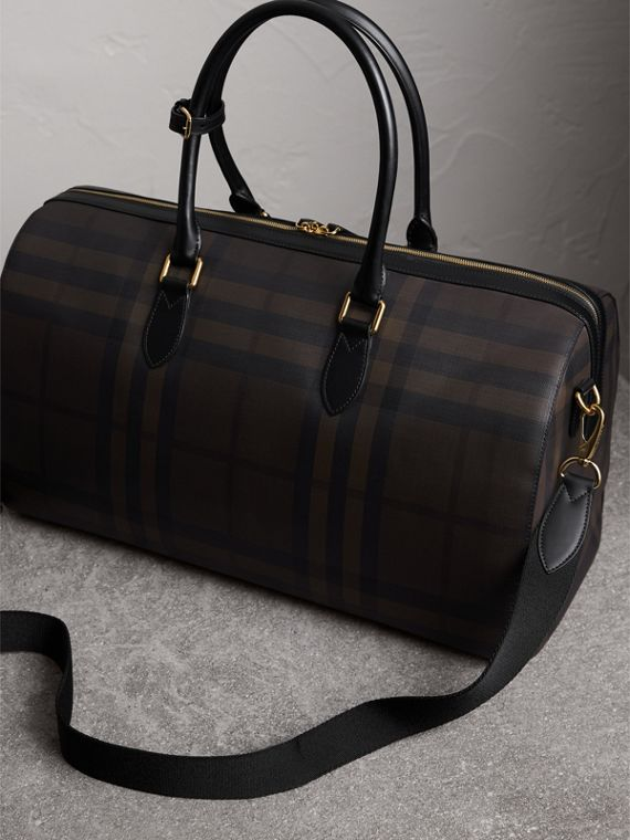 Leather Trim London Check Holdall in Chocolate/black - Men | Burberry - cell image 3
