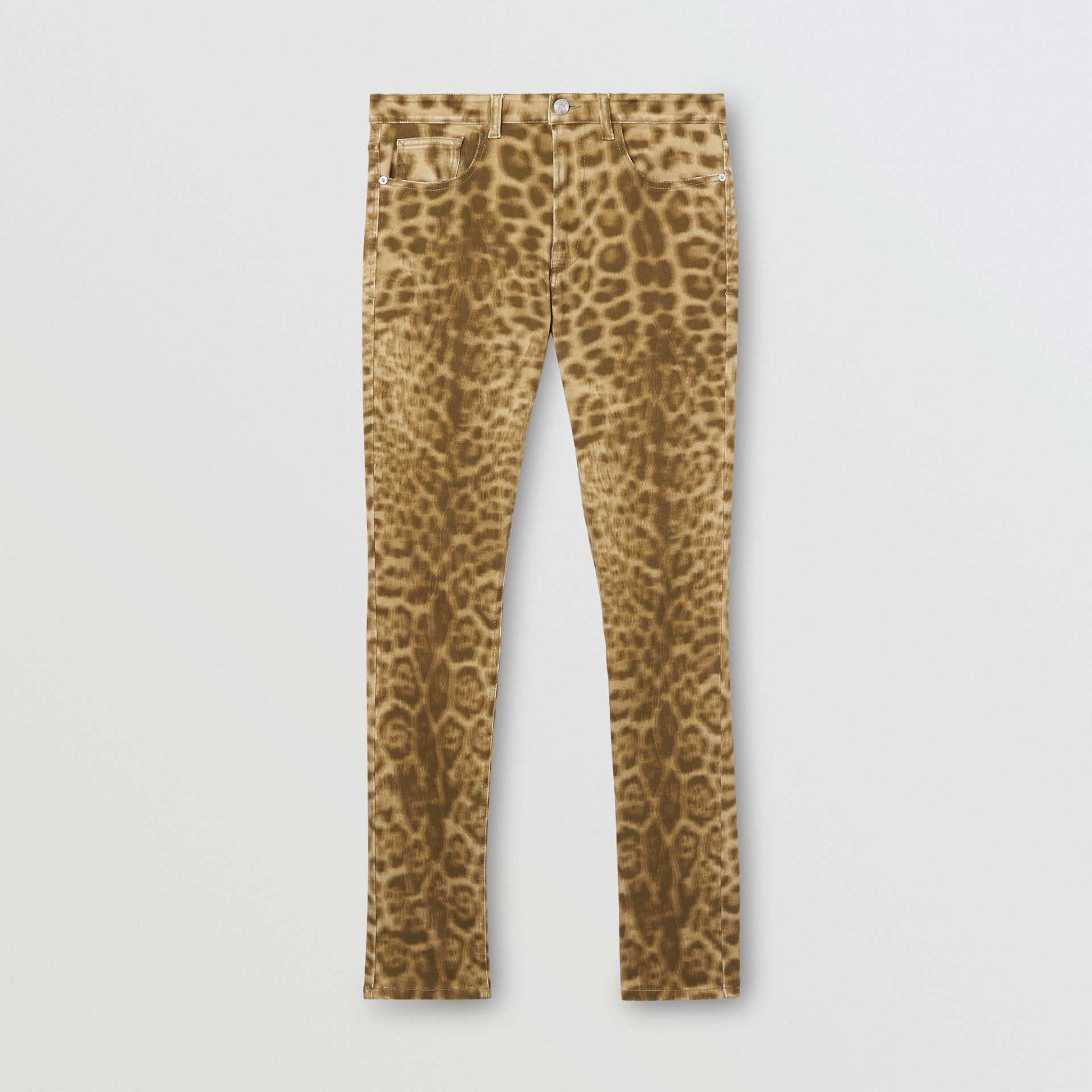Straight Fit Leopard Print Japanese Denim Jeans in Beige - Women | Burberry - gallery image 2