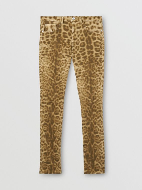 Straight Fit Leopard Print Japanese Denim Jeans in Beige