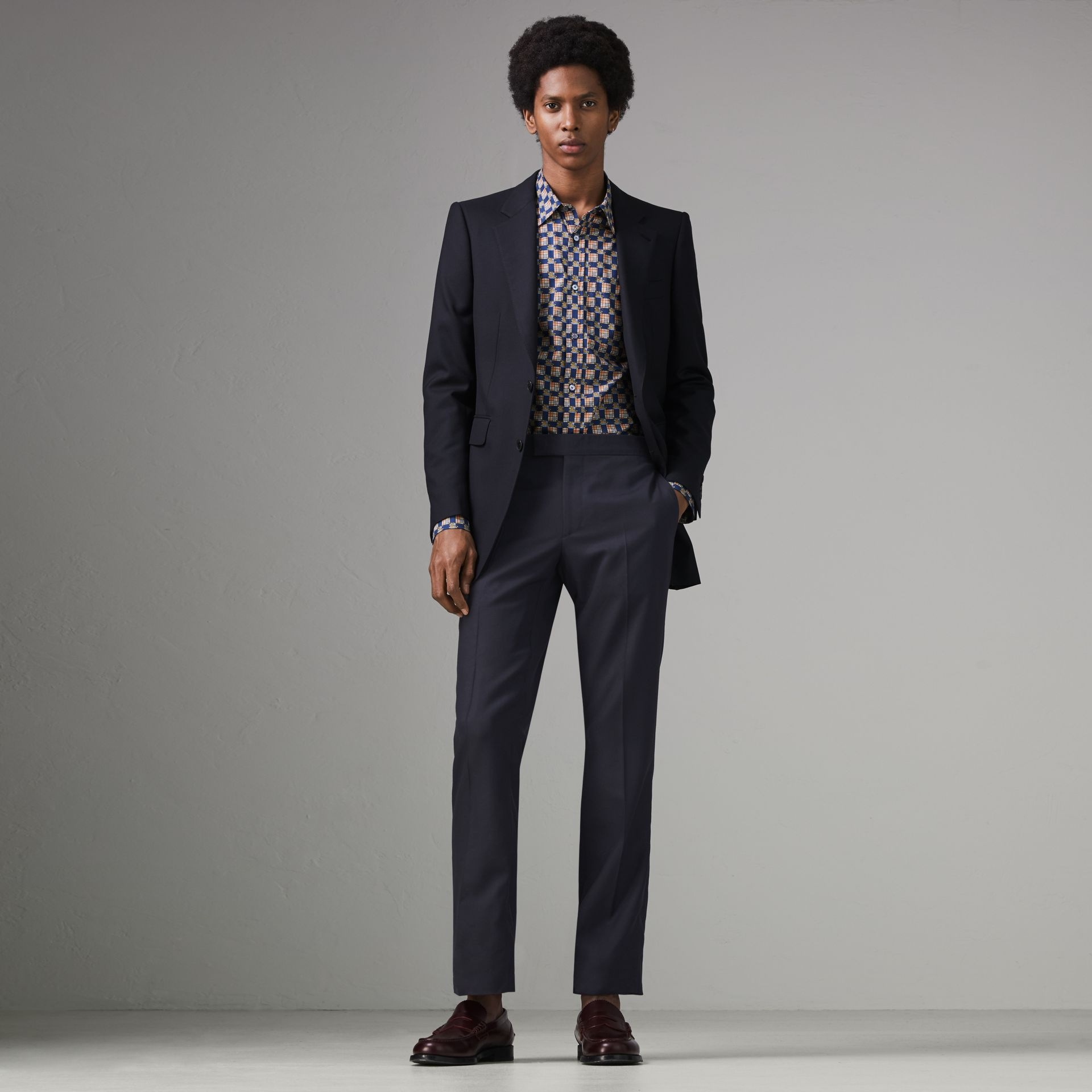 Slim Fit Wool Twill Suit in Navy - Men | Burberry Australia - gallery image 0