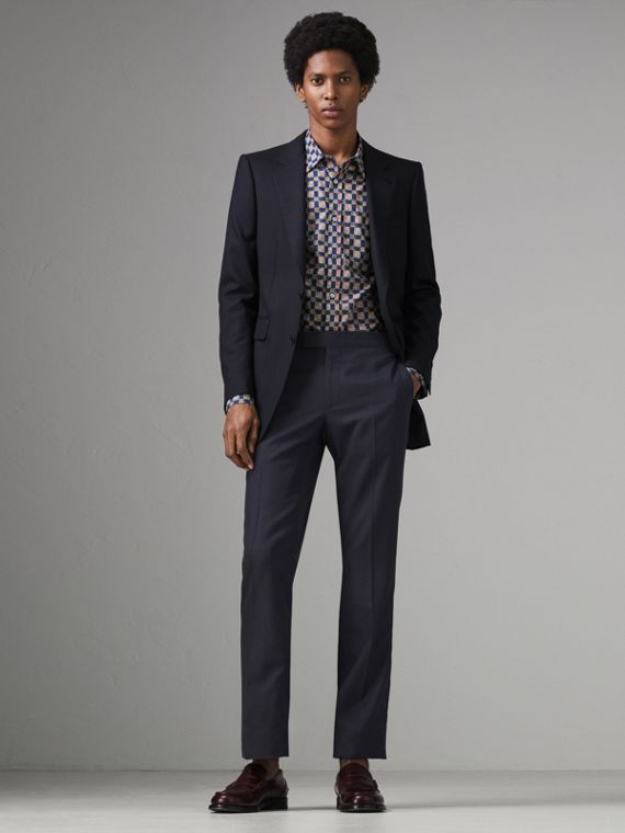 Slim Fit Wool Twill Suit in Navy