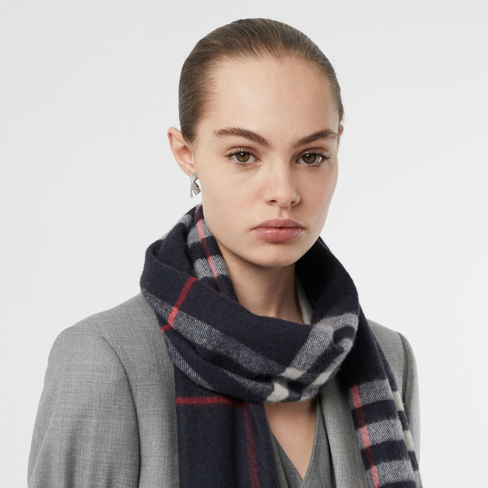 The Classic Check Cashmere Scarf in Navy | Burberry Australia - gallery image 2