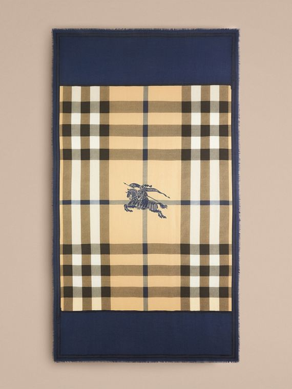 Indigo blue Contrast Border Horseferry Check Cashmere Scarf Indigo Blue - cell image 3