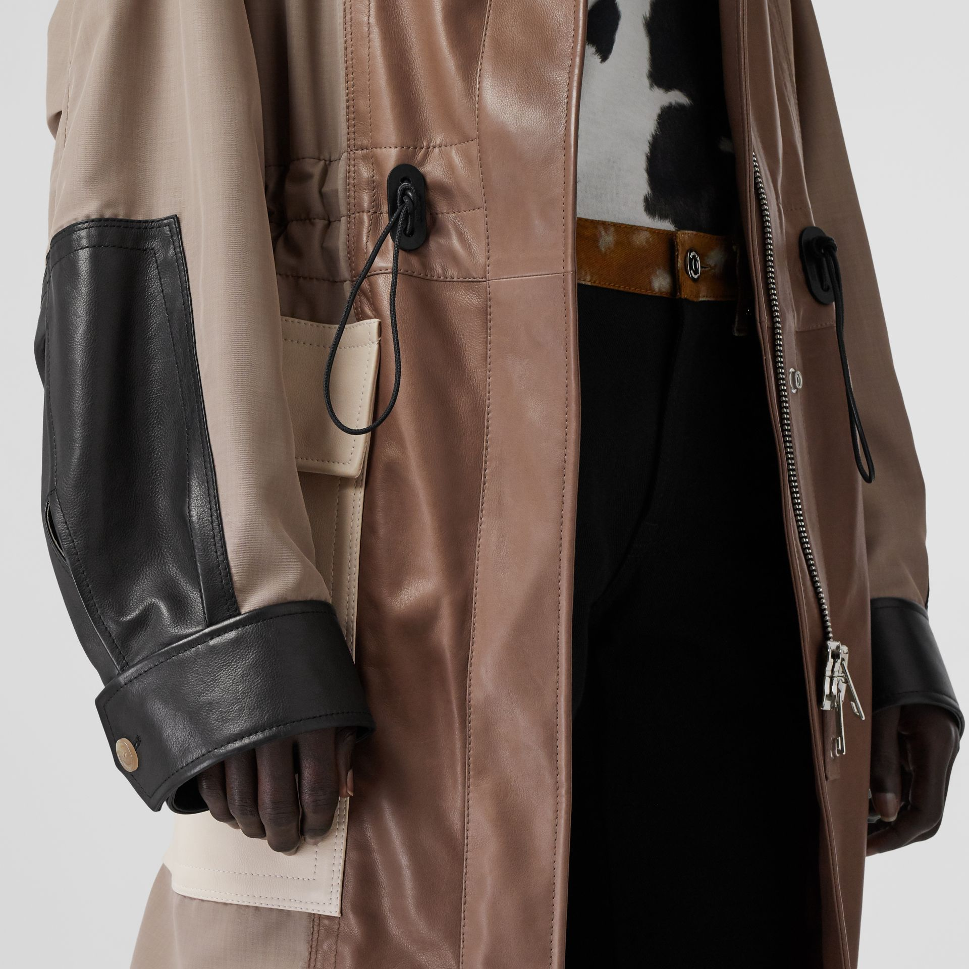Leather Panelled Nylon Hooded Parka in Warm Taupe - Women | Burberry - gallery image 4