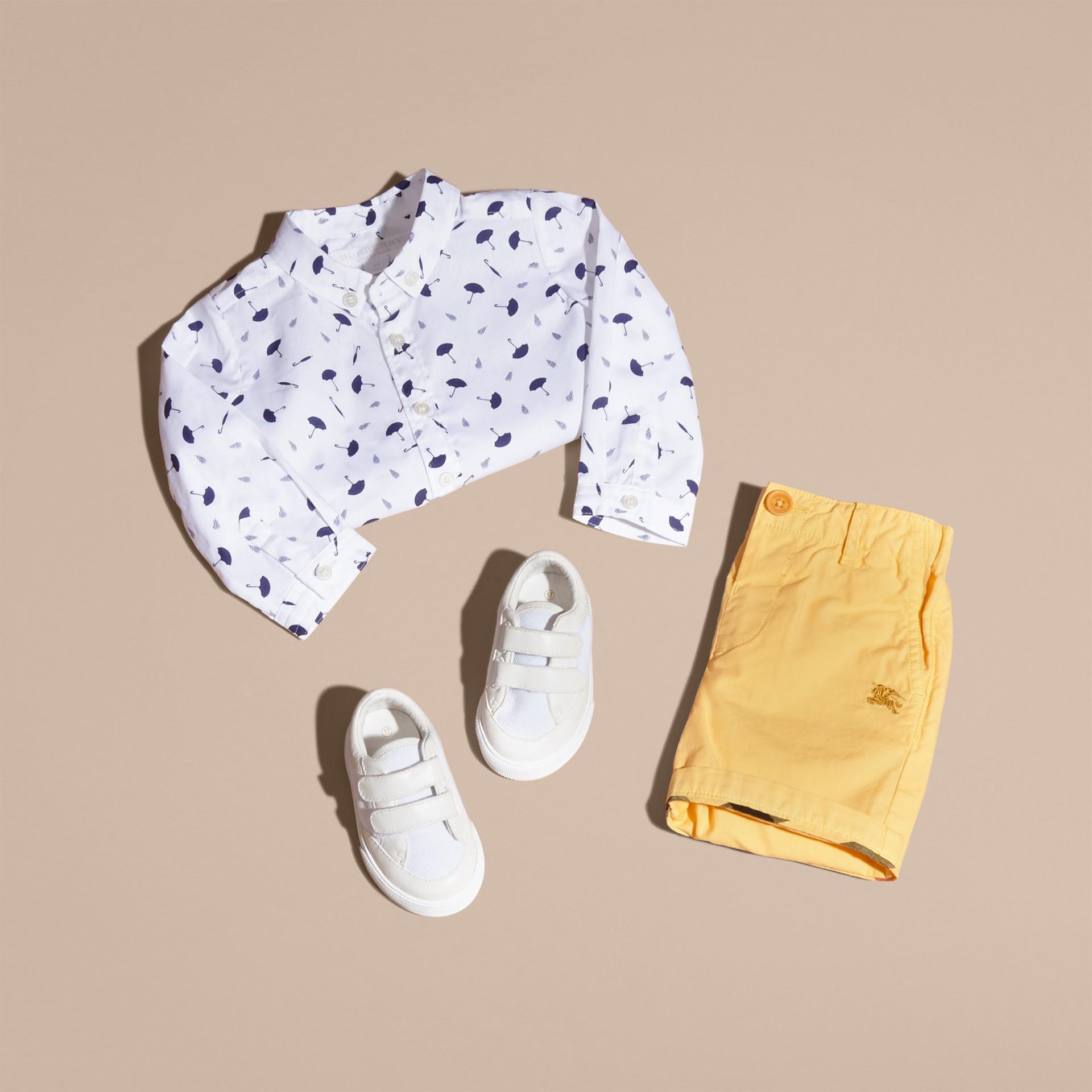 Button-down Collar Umbrella Motif Cotton Shirt - gallery image 5