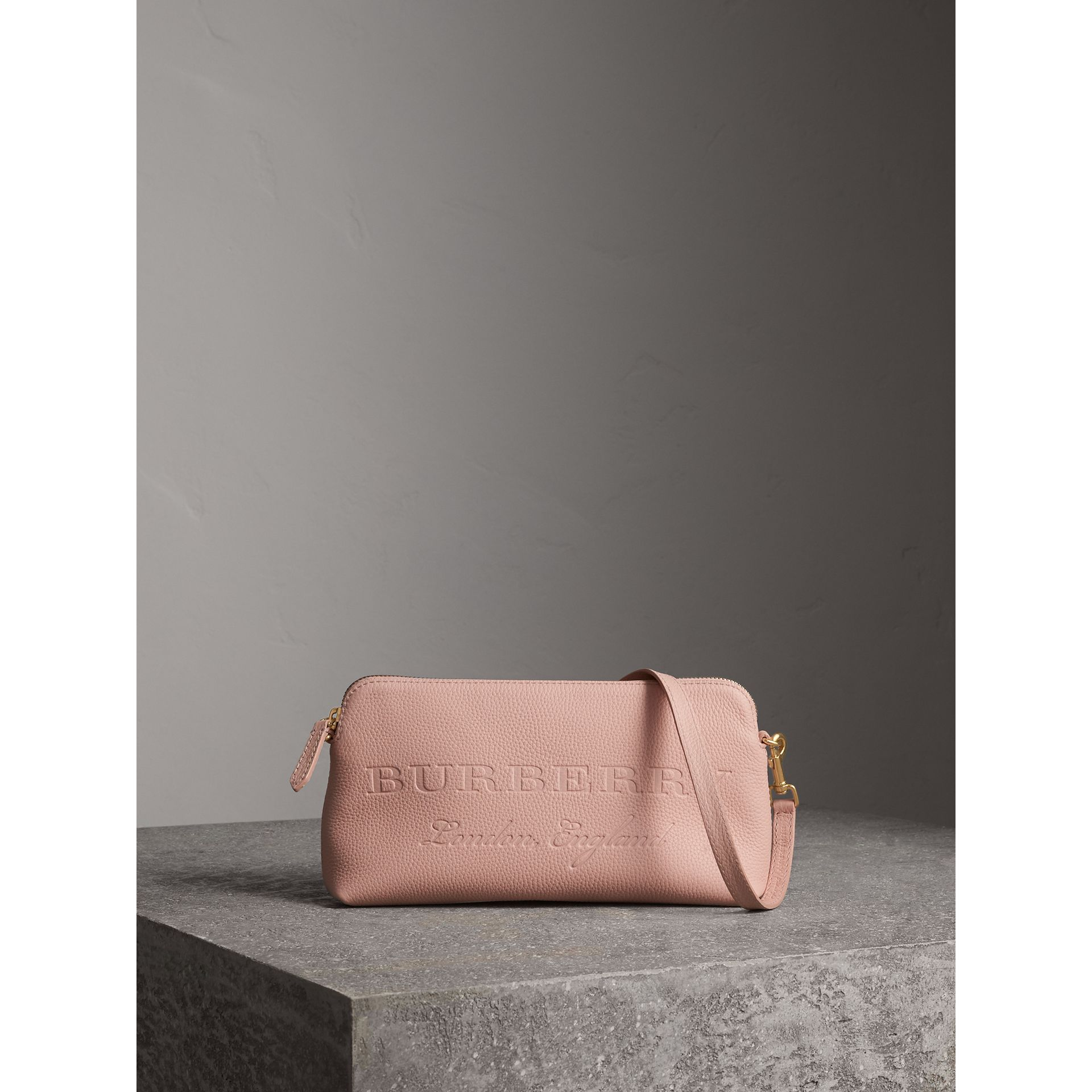 Embossed Leather Clutch Bag in Pale Ash Rose - Women | Burberry Australia - gallery image 1