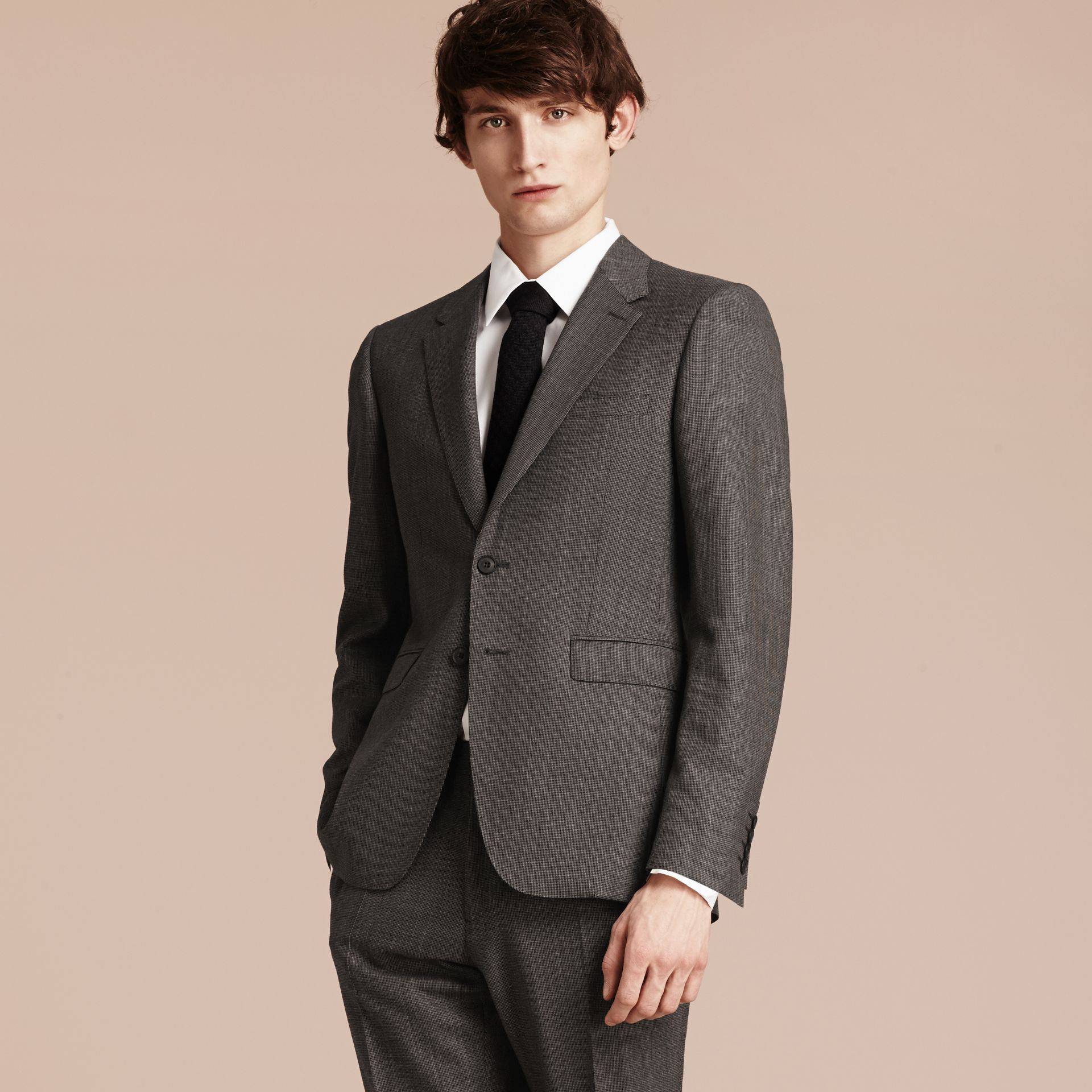 Mid grey melange Modern Fit Wool Cashmere Microcheck Part-canvas Suit - gallery image 8