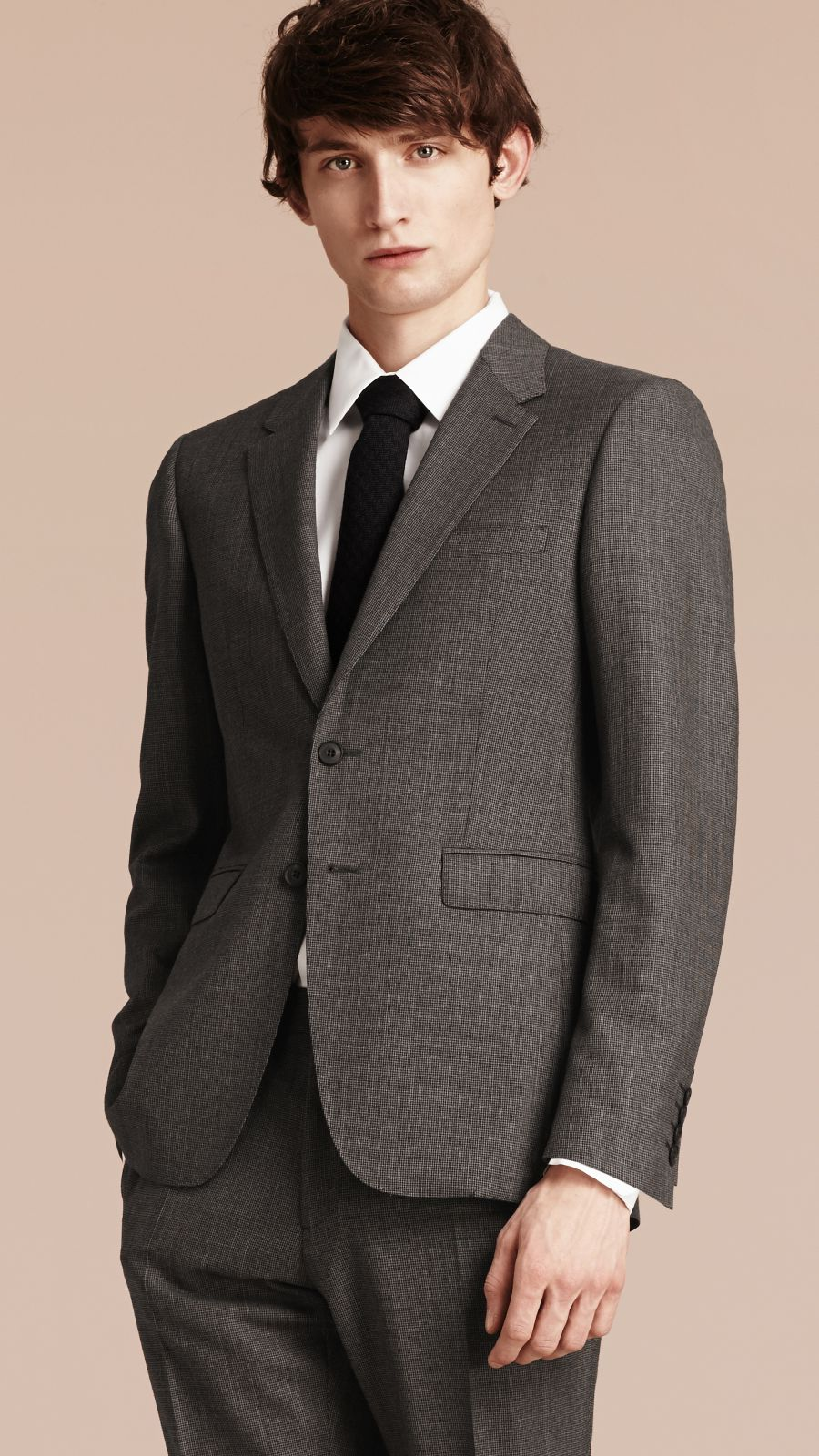 Mid grey melange Modern Fit Wool Cashmere Microcheck Part-canvas Suit - Image 8