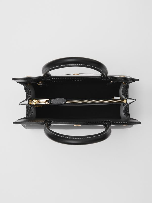 Mini Leather Two-handle Title Bag in Black/white - Women | Burberry - cell image 3
