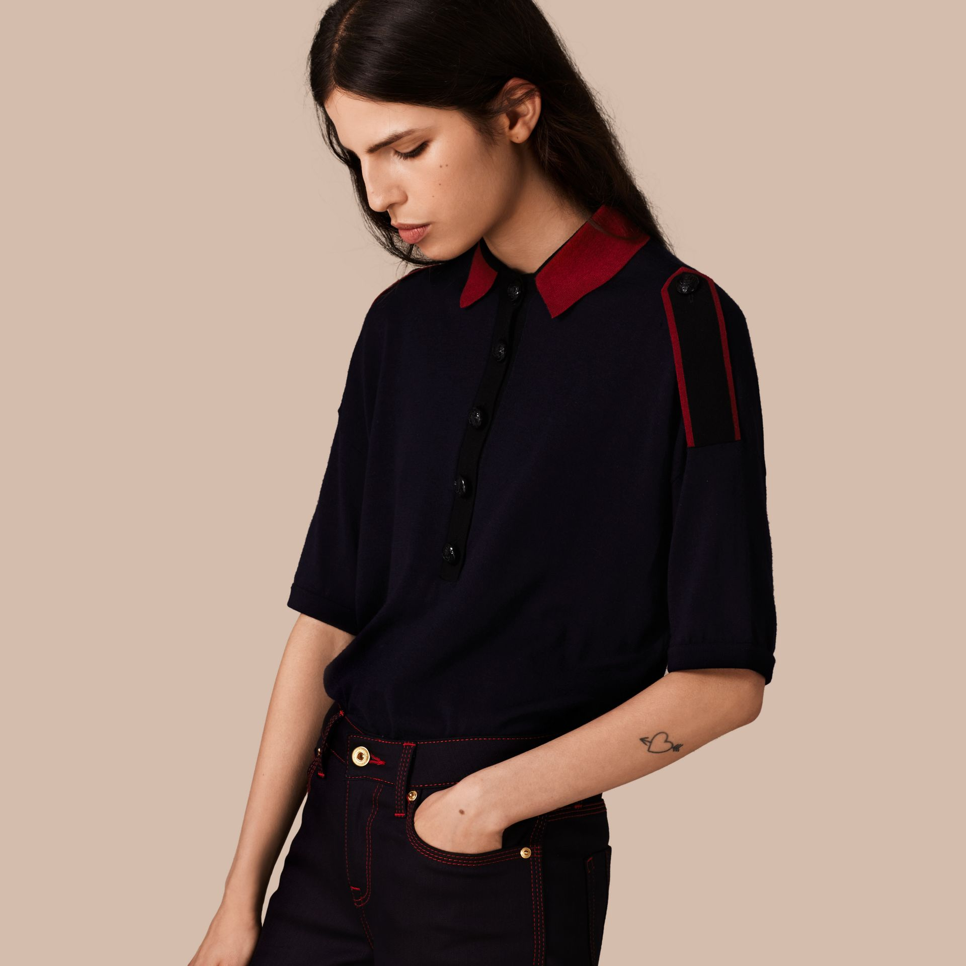 Navy/red Epaulette Detail Wool Polo Shirt - gallery image 1