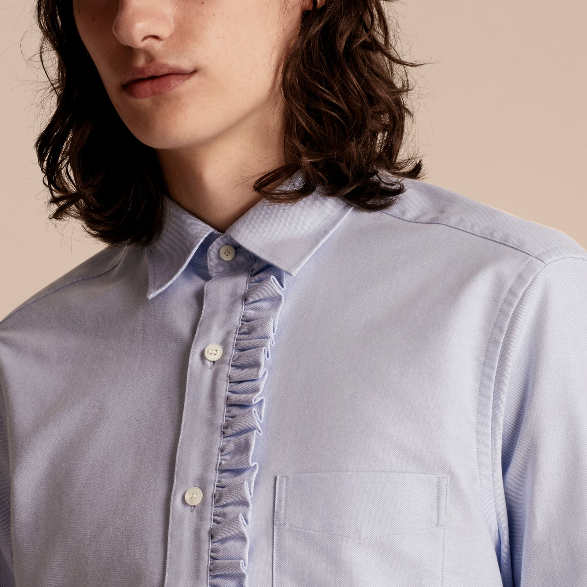 Cornflower blue Ruffle Detail Cotton Oxford Shirt - gallery image 5