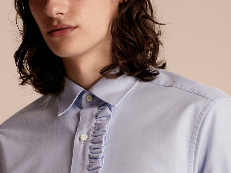 Ruffle Detail Cotton Oxford Shirt - cell image 4