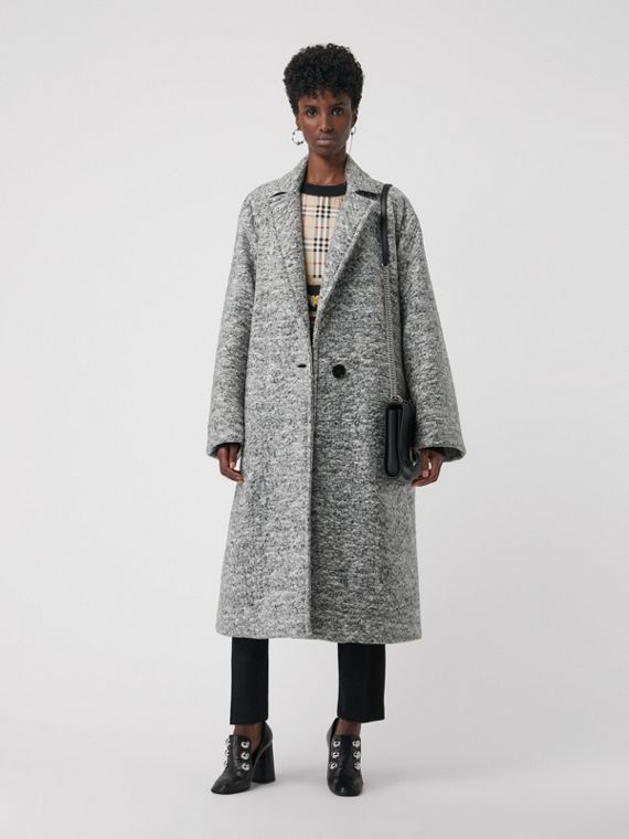 Laminated Cashmere Wool Blend Oversized Coat in Grey Melange