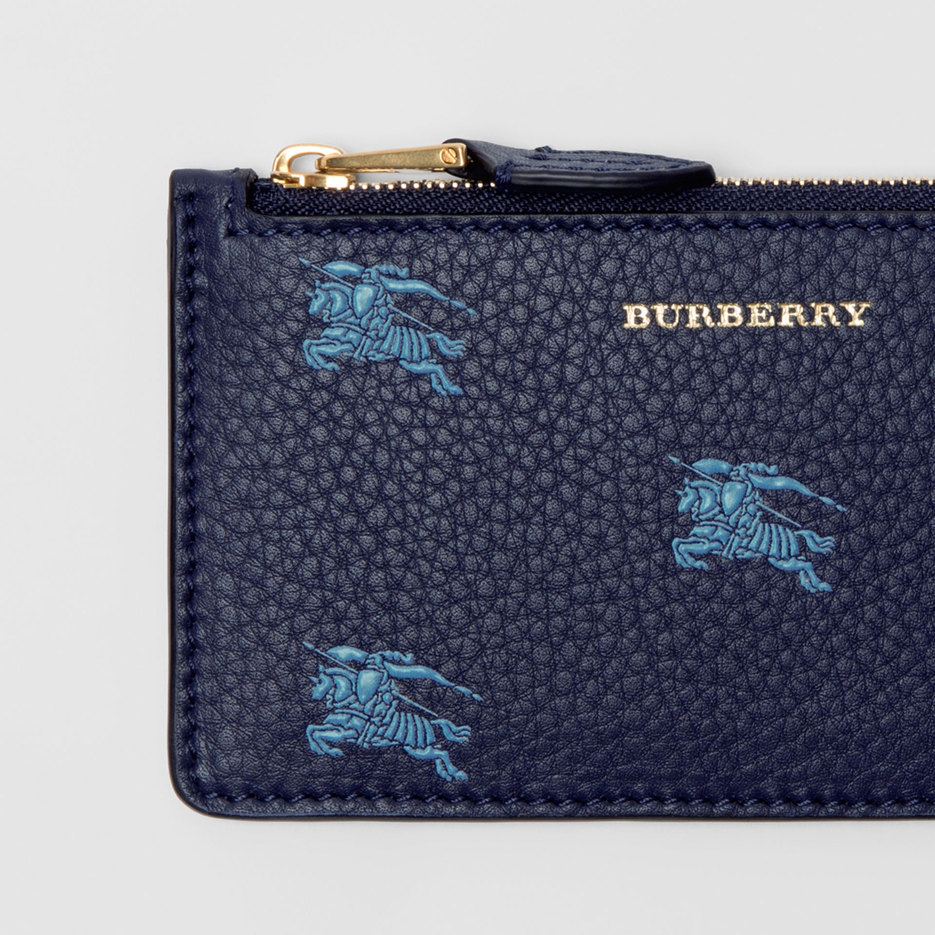 Equestrian Knight Leather Zip Card Case in Regency Blue - Women | Burberry - gallery image 1