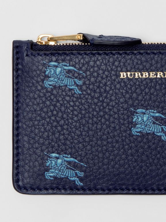Equestrian Knight Leather Zip Card Case in Regency Blue - Women | Burberry - cell image 1